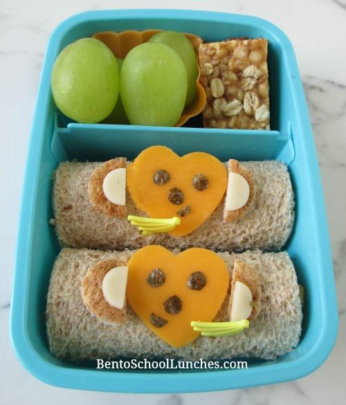 Monkey Roll-Ups Sandwiches bento lunch