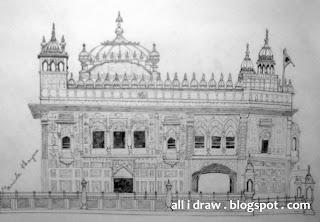 Gurudwara Darbar Sahib, Amritsar Sketch by Maninder Pal SIngh