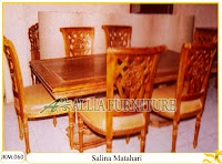 Kursi dan Meja Makan Ukiran Kayu Jati Salina Matahari