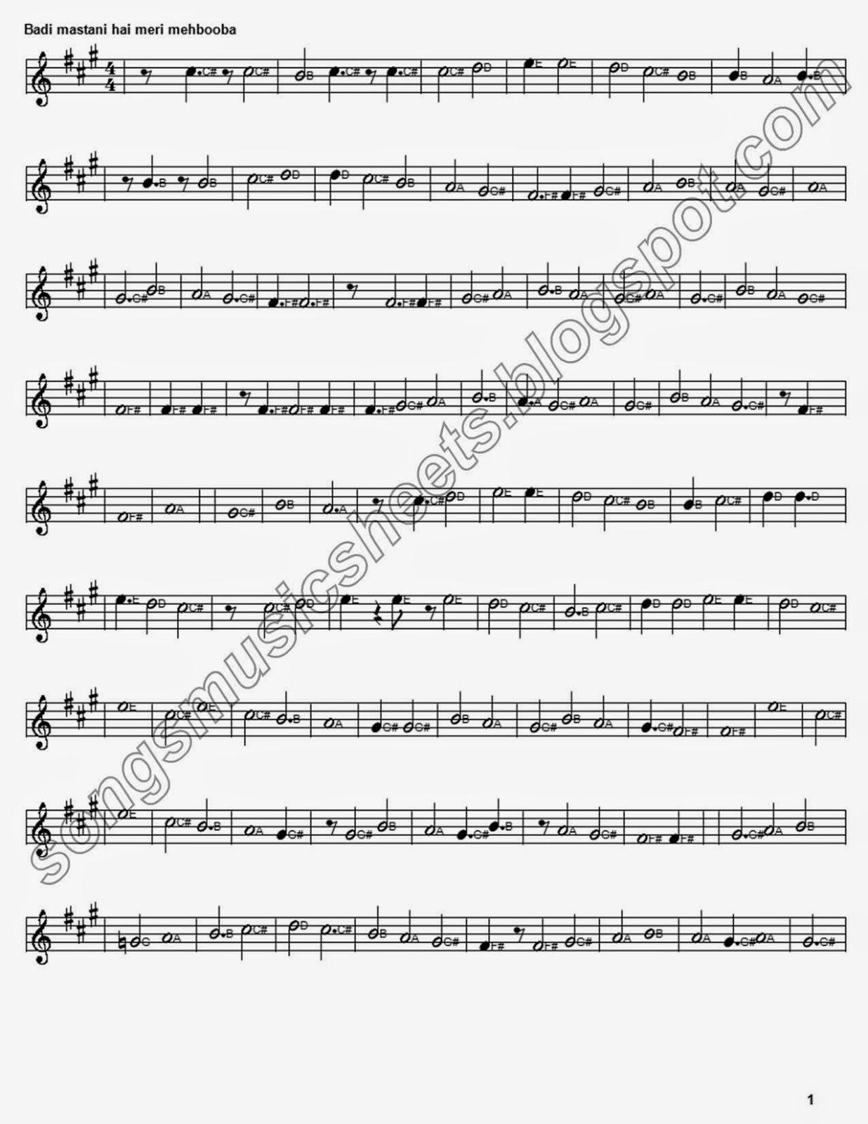 Badi mastaani hai meri mehbooba Piano Music Sheet