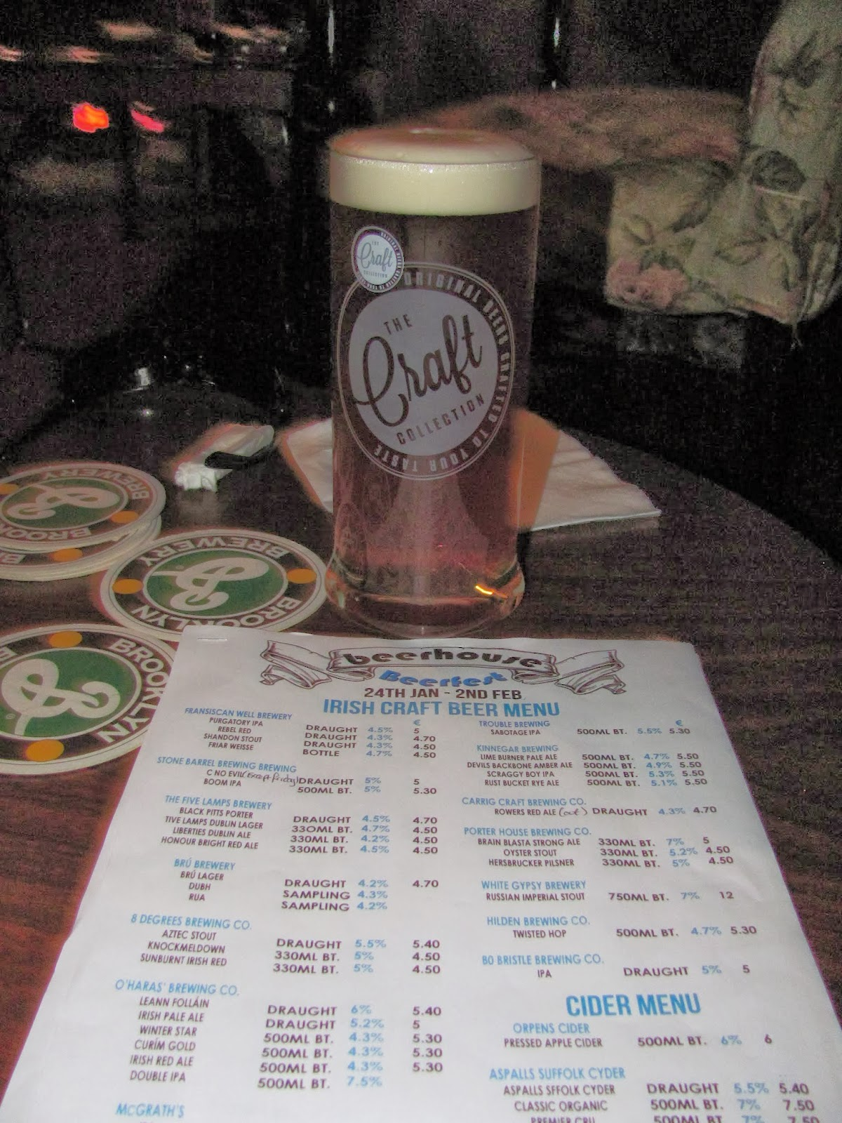 Beerhouse Menu in Dublin, Ireland