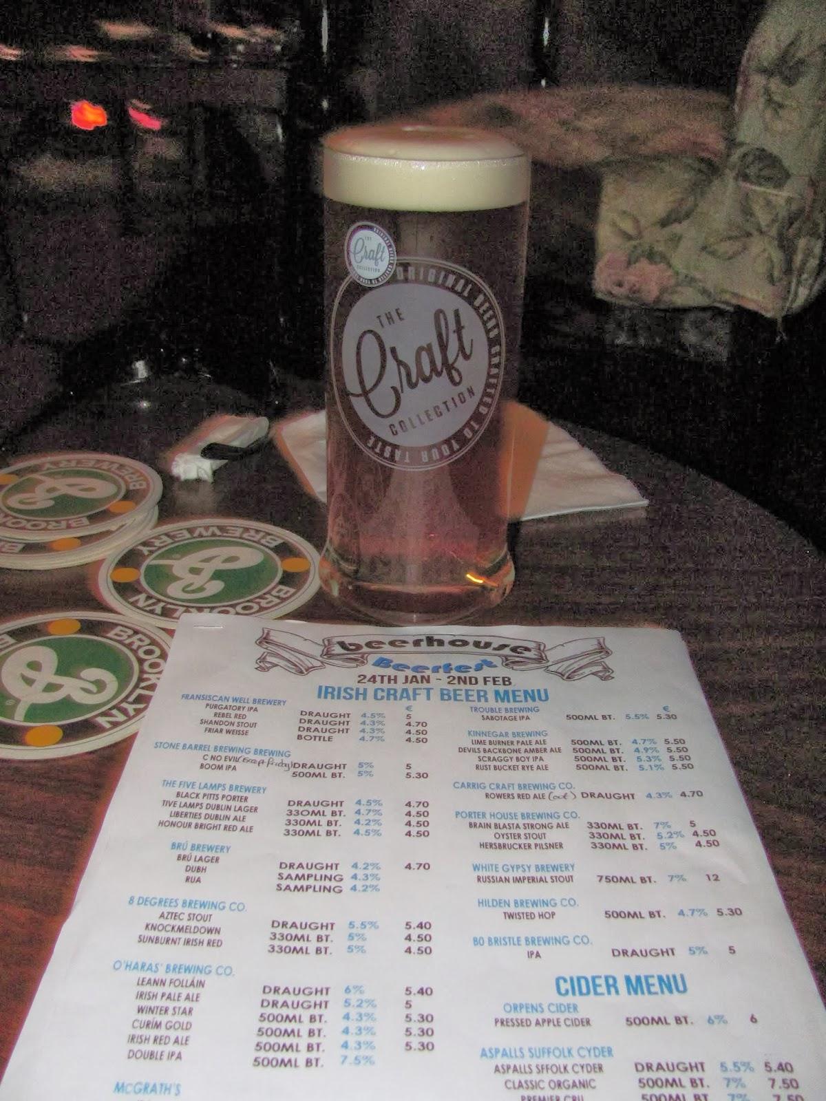 Beerhouse Menu in Dublin, Ireland