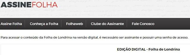 Portal Folha de Londrina oferece conteúdos online para assinantes