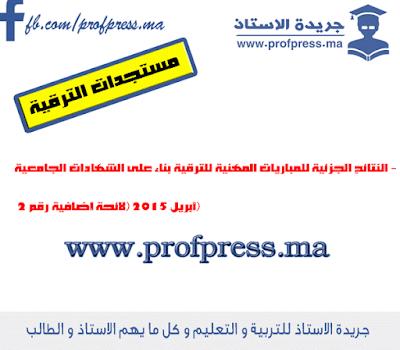 النتائج الجزئية للمباريات المهنية للترقية بناء على الشهادات الجامعية - أبريل 2015 (لائحة إضافية رقم 2)