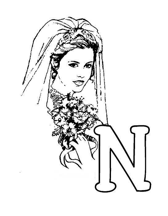 Desenhos Preto e Branco letras do alfabeto letra N Colorir