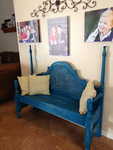 SOLD- Chippy Turquoise Bench