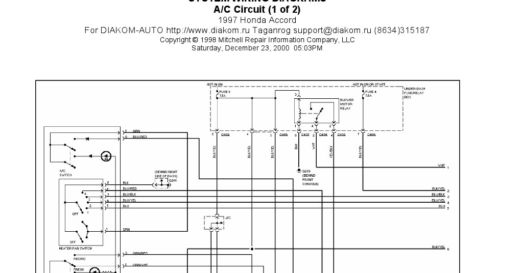 1997 Honda Accord A C Circuits System Wiring Diagrams