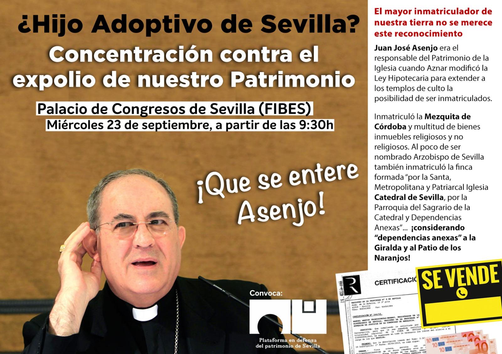 CONCENTRACIÓN CONTRA EL EXPOLIO DE NUESTRO PATRIMONIO. Plataforma en defensa patrimonio de Sevilla.