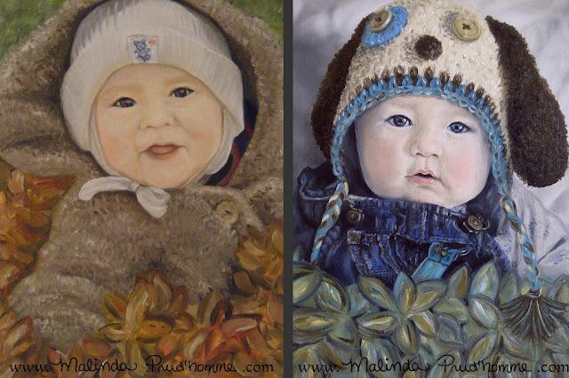 portrait artist, baby portrait, baby art, portrait painting, oil painting