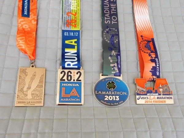 LA Marathon medals 2011-2014