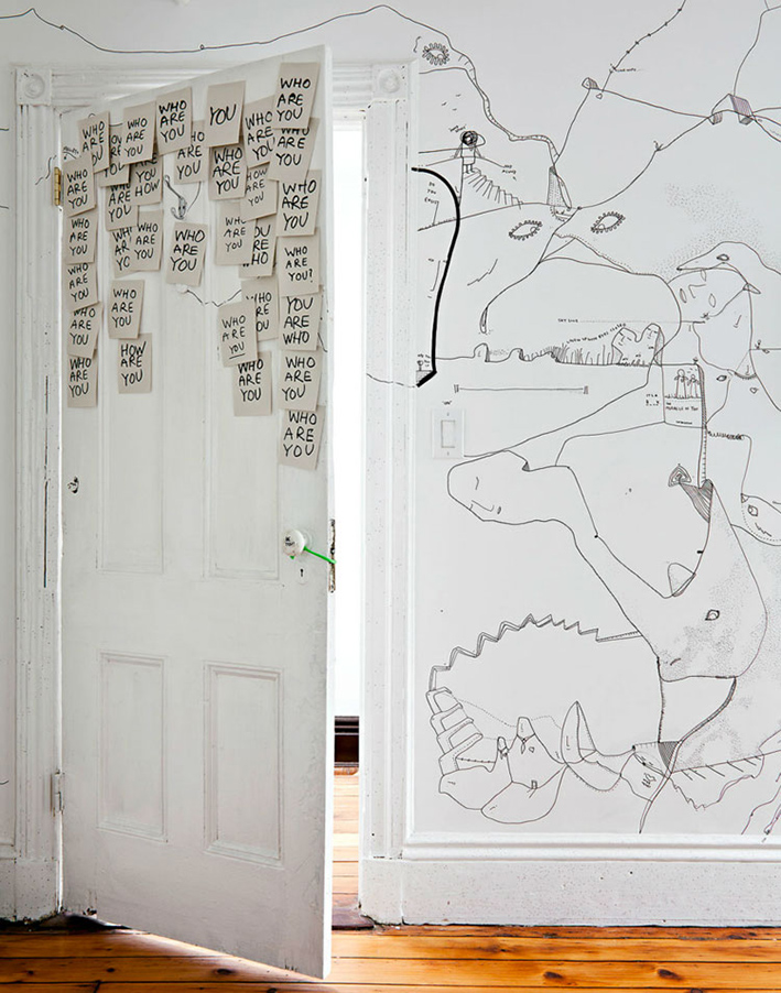white bedroom wall hand drawn by Shantell Martin
