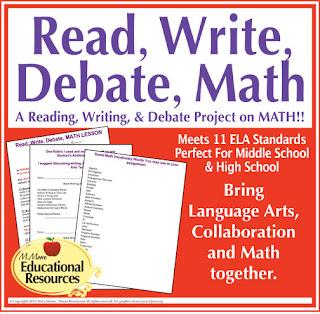 https://www.teacherspayteachers.com/Product/Math-Read-Write-Debate-Lesson-Editable-Middle-School-High-School-1966476