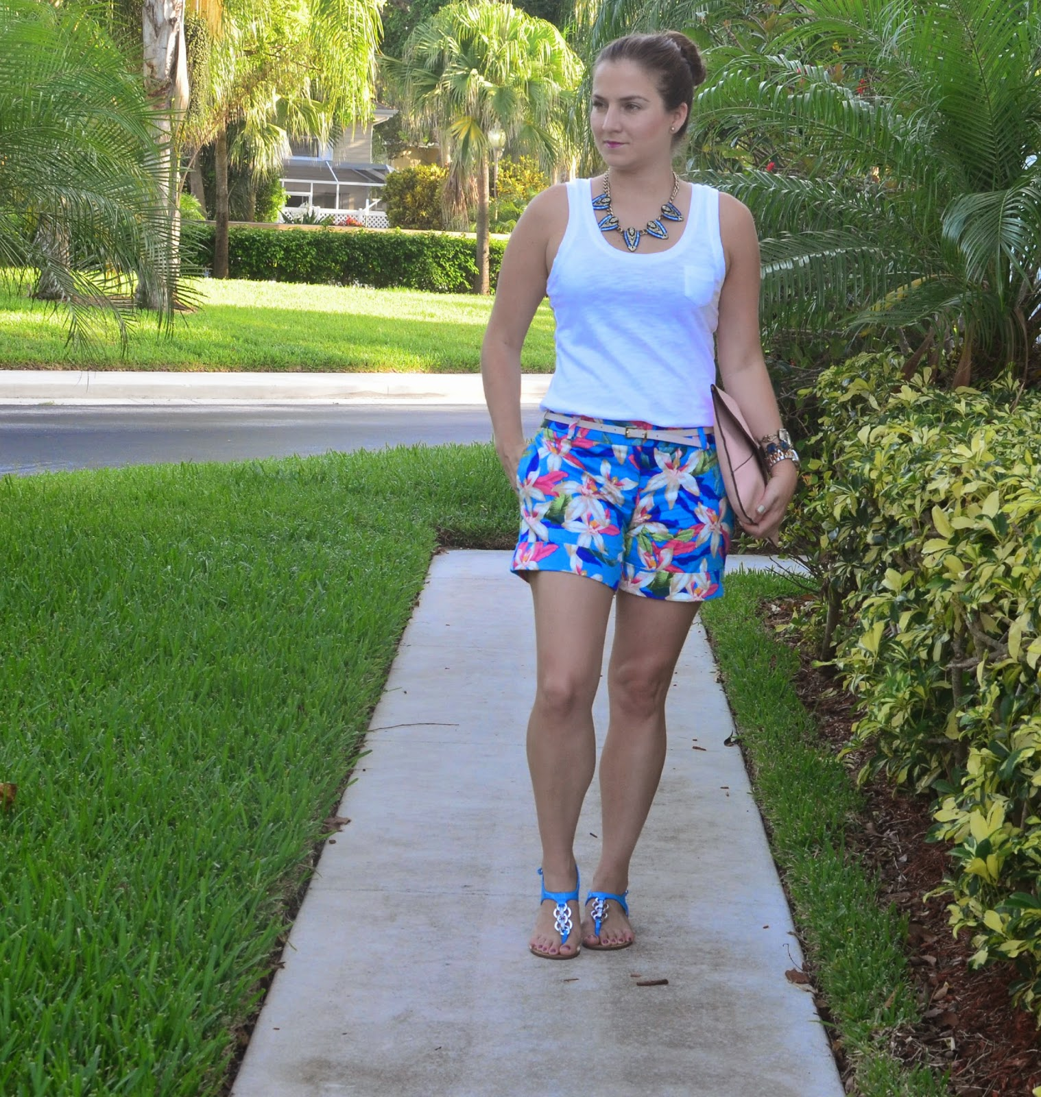 Floral shorts - white tank - Emma & Sophia - statement necklace