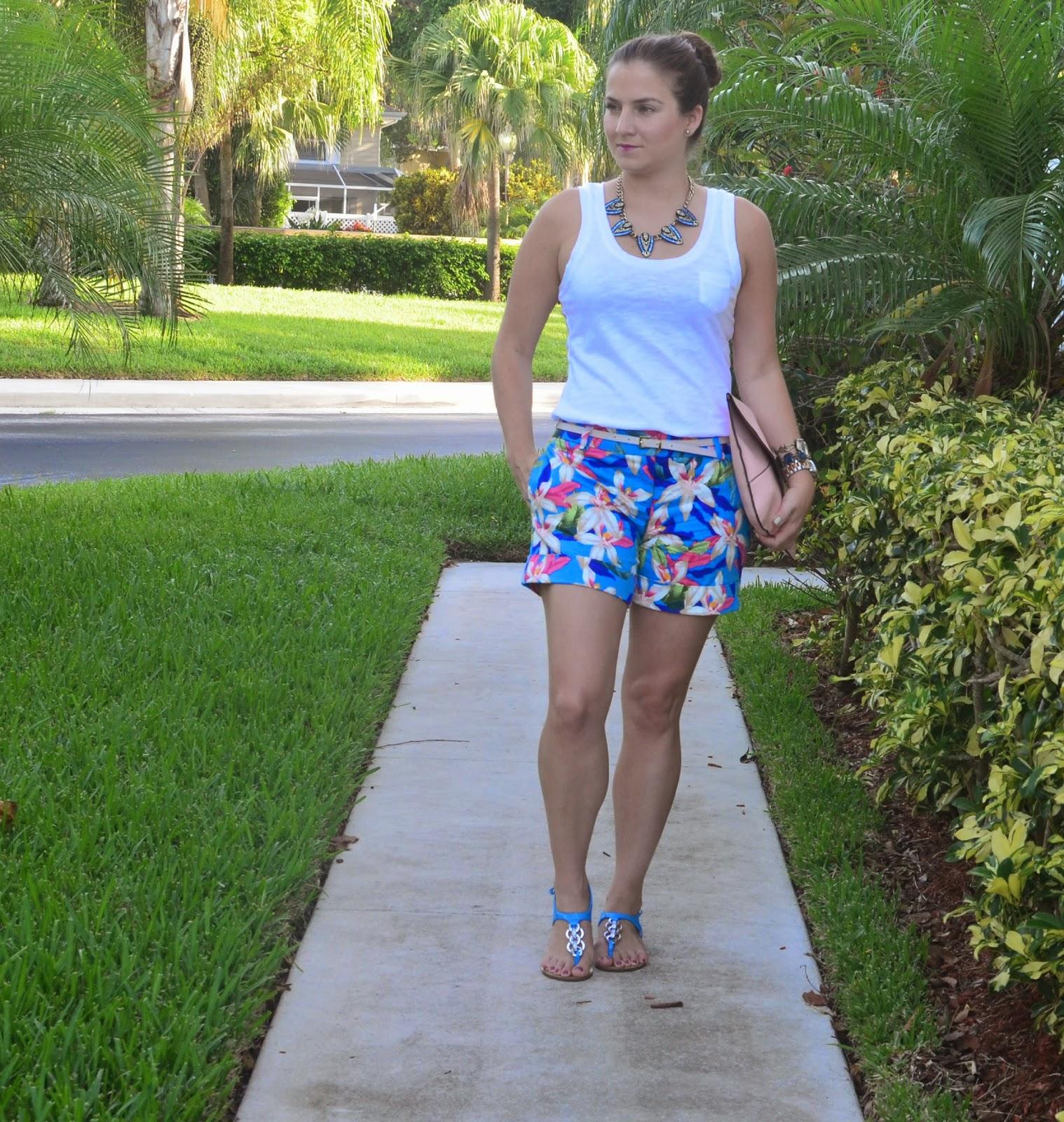Floral shorts - white tank - Emma & Sophia - statement necklace