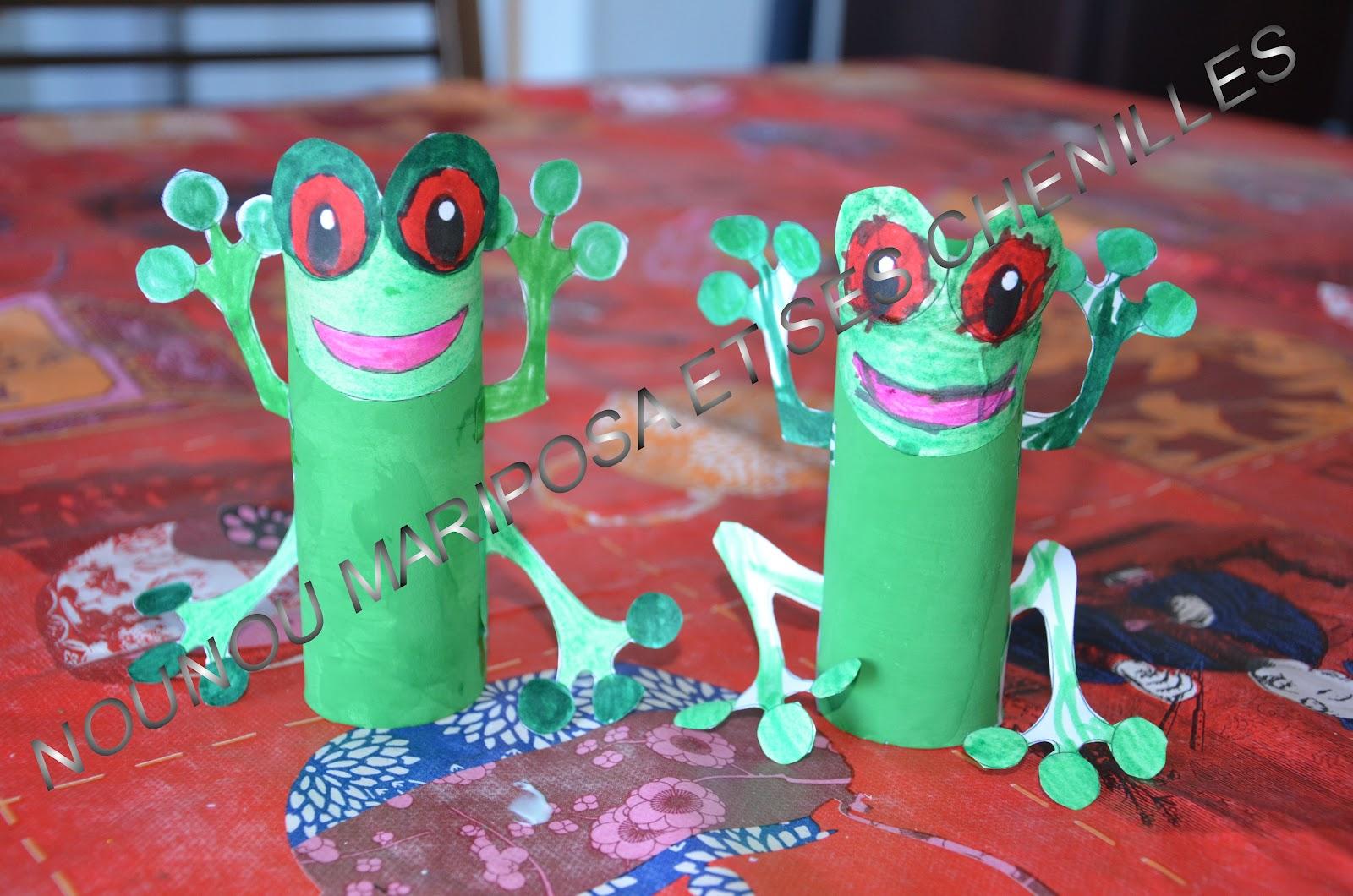 Nounou mariposa et ses chenilles une grenouille en - Activite manuelle avec papier toilette ...