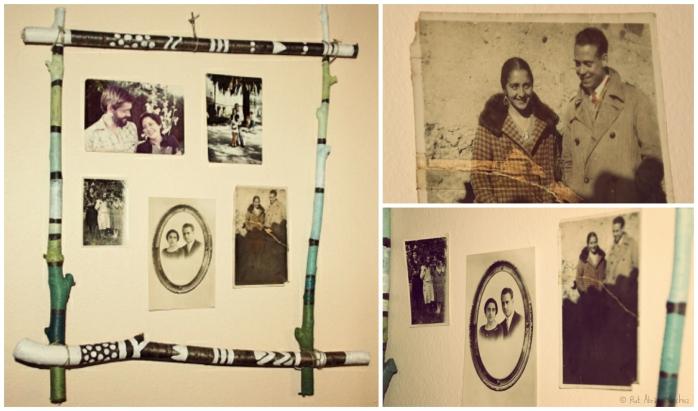 marco de fotos hecho con materiales reciclados: palos, cordel clips