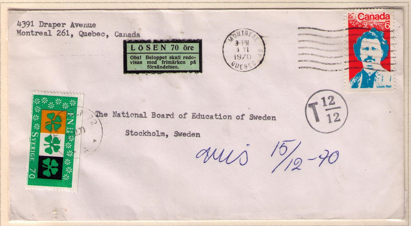 postal history corner 1970 louis riel international surface letter