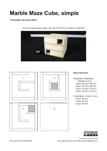 Plans for the Marble maze cube puzzle