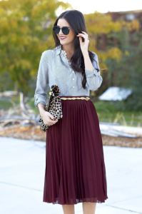 Marsala skirt shirt