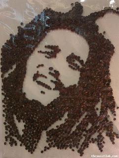 حبات القهوة على شكل تشي جيفارا