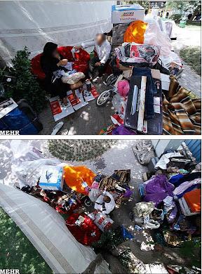 چادر نشینی یک خانواده تهرانی در پیاده رو