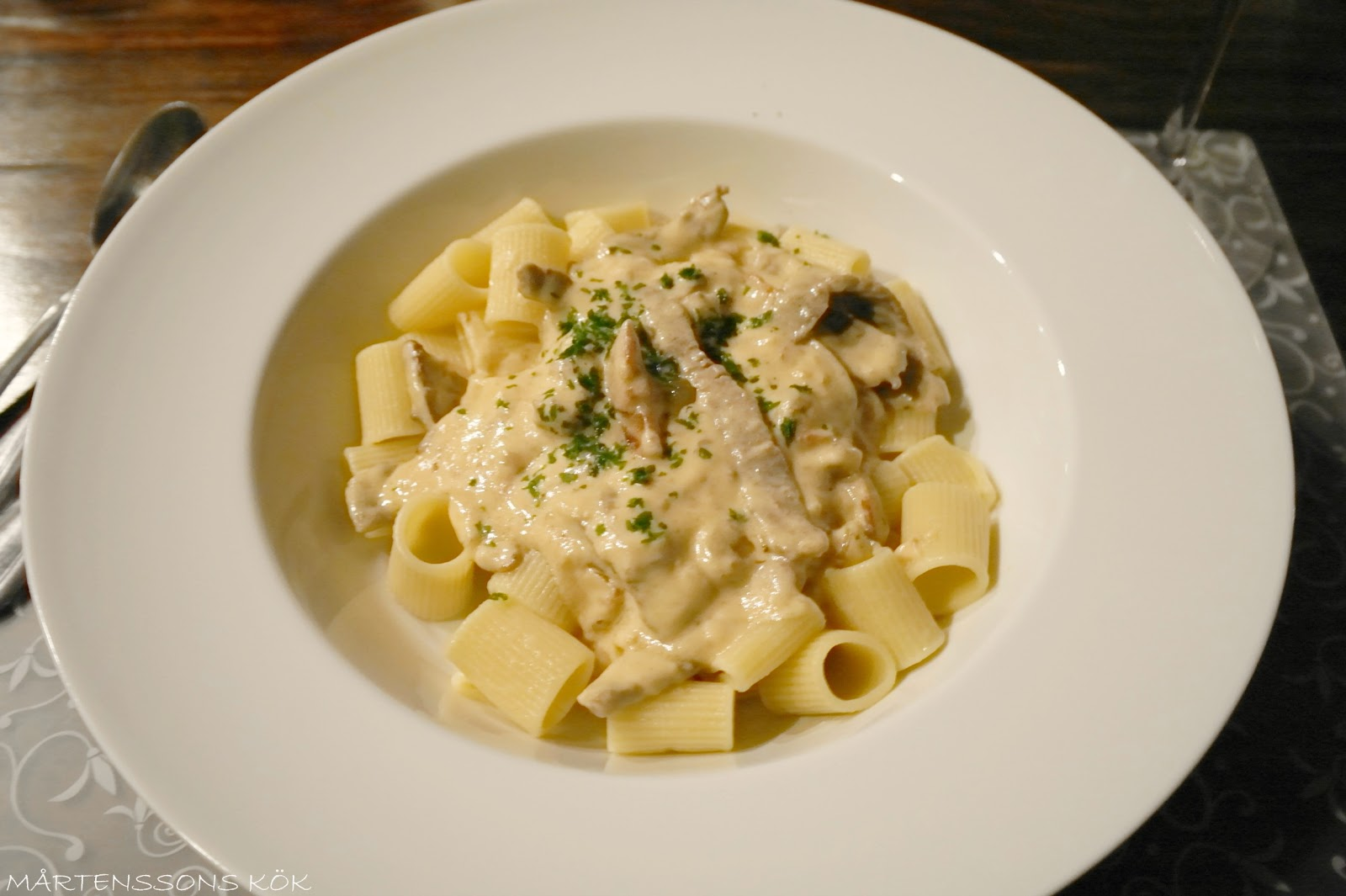 strimlad lövbiff pasta