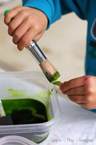Painting pasta with baking soda paint