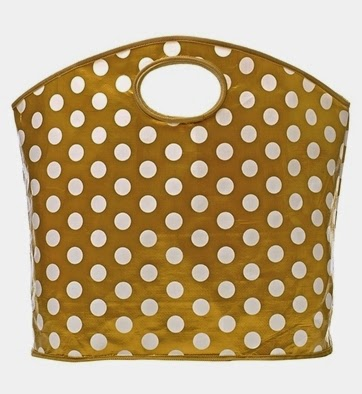 gold polka dot tote bag