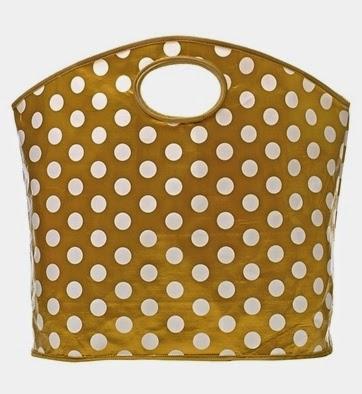 gold polka dot tote bag