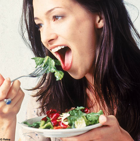 ... suppressed appetite is by eating salad just before eating a meal you