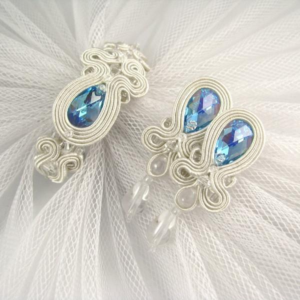 "Błękitna biżuteria ślubna - komplet sutasz ""Say YES""."