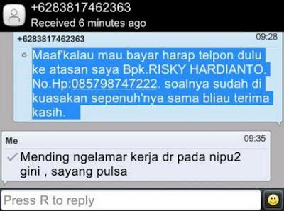 SMS Penipuan salah sasaran