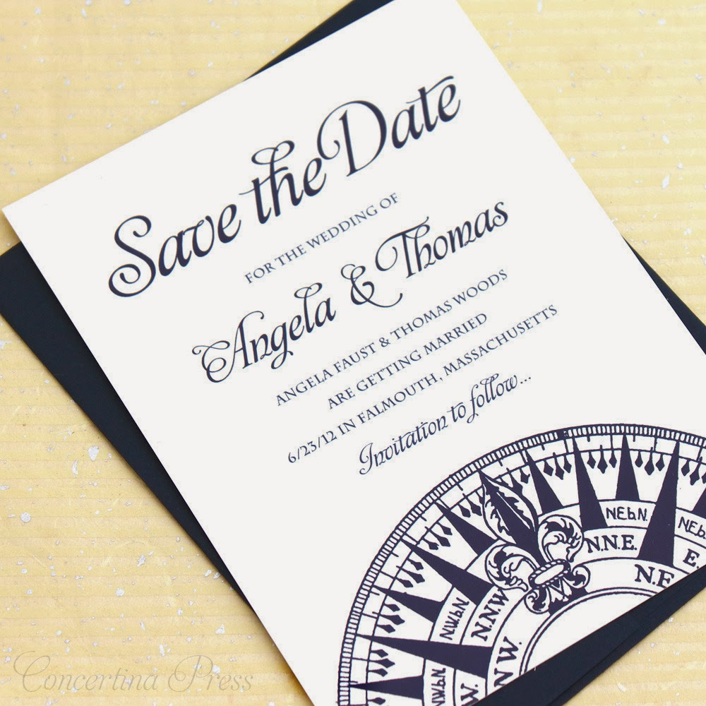 vintage modern nautical compass save the date from Concertina Press
