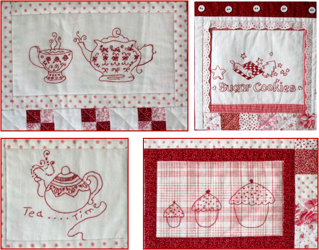 Quilt inspiration free pattern day redwork part 2 for Kitchen quilting ideas