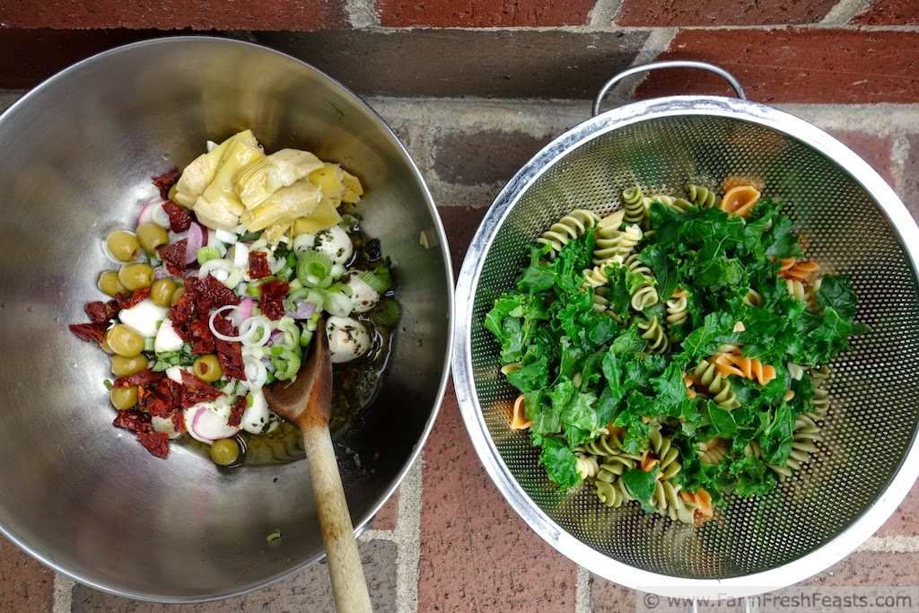 Antipasti Pasta Salad with Kale and Radish | Farm Fresh Feasts