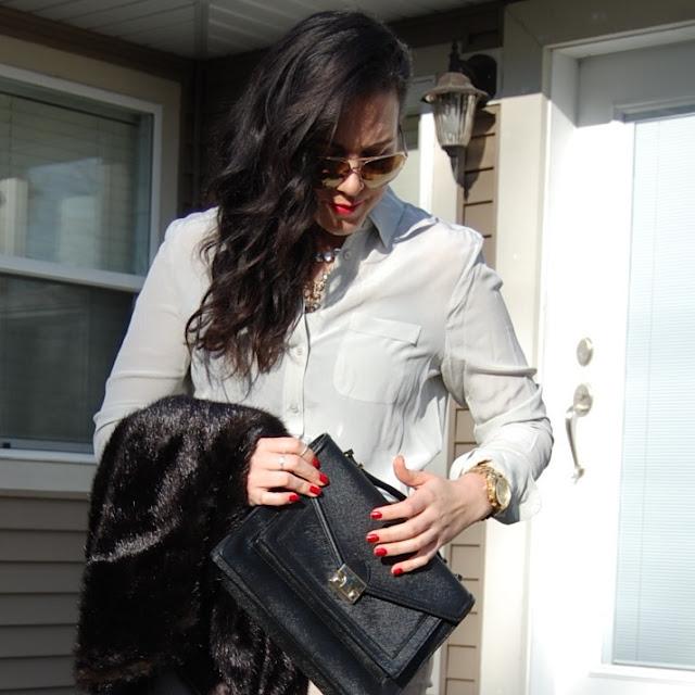 Zara pants,Joe Fresh silk blouse, Vera Wang vest,Loeffler Randall Rider bag