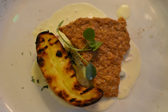 New potato with herring and oat cake at Crocker's Folly London