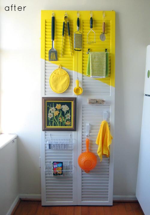 decorar cozinha velha: pintada serve para pendurar objetos na cozinha ou área de serviço