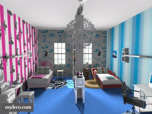Habitaci n para ni o y ni a dormitorios con estilo for Decoracion habitacion compartida nino nina
