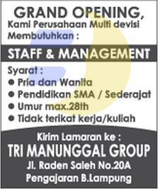 INFO LOWONGAN PEKERJAAN DI LAMPUNG: CV. Tri Manunggal Group Lampung