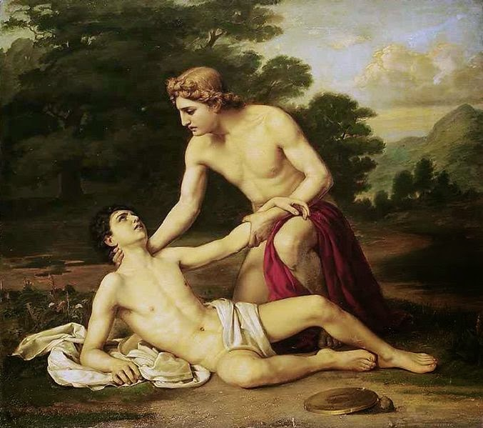 Apollo and the mortally wounded Hyacinthus