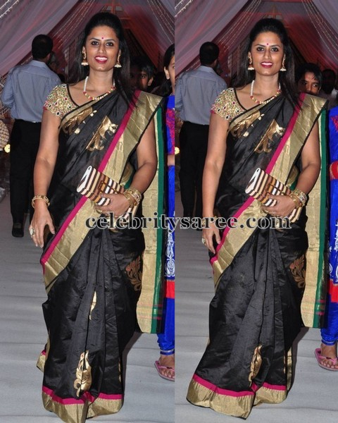 Kausalya Black Traditional Sari
