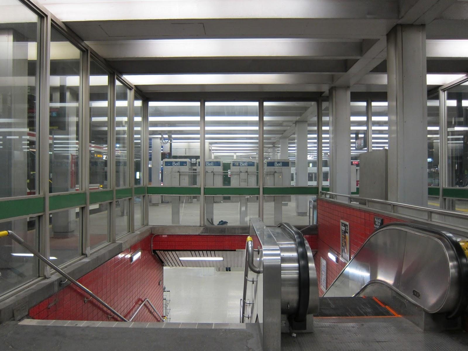 Stairwell to mezzanine, from streetcar platform, Dundas West station