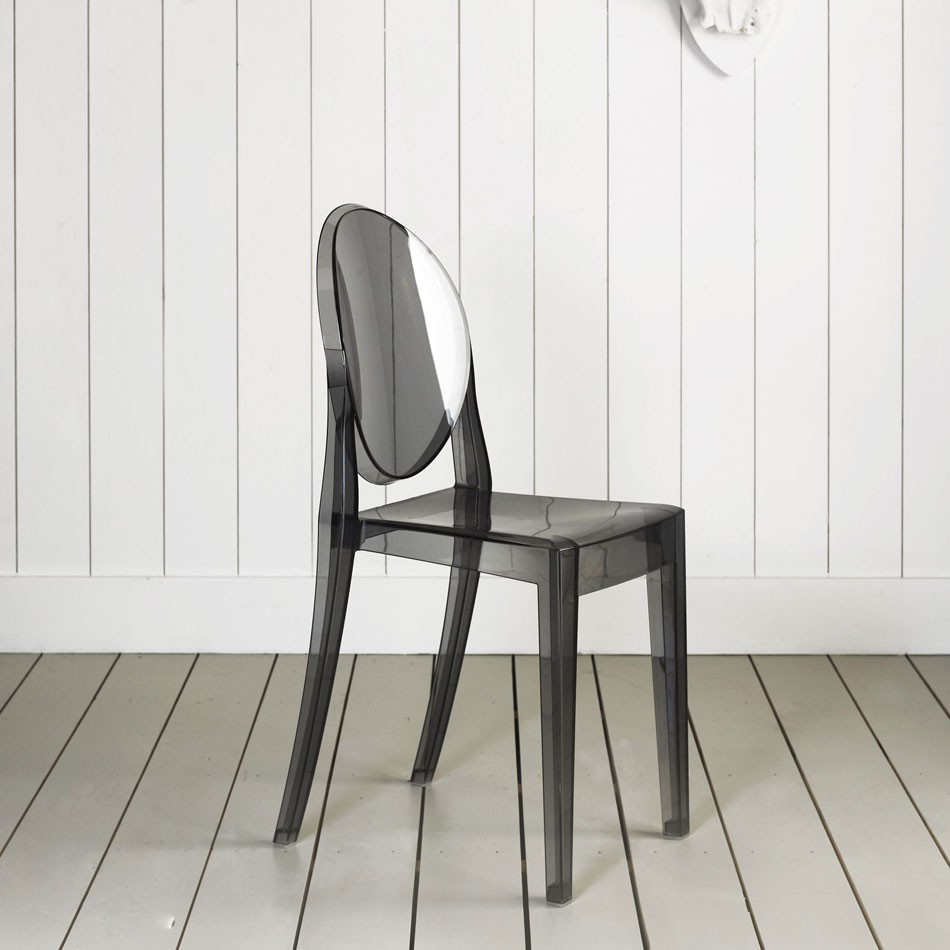 Kartell Victoria Ghost Chair in Transparent Smoke Grey by Philippe Starck (image credit Graham u0026 Green) & victoria-ghost™ chair black / plastic / kartell ...
