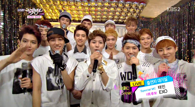 screencap of exo on music bank 1st win