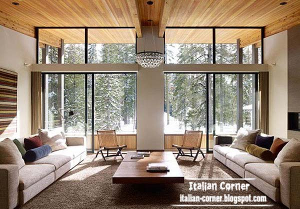 Italian Living Room.  Modern Italian living room with wooden ceiling 2013