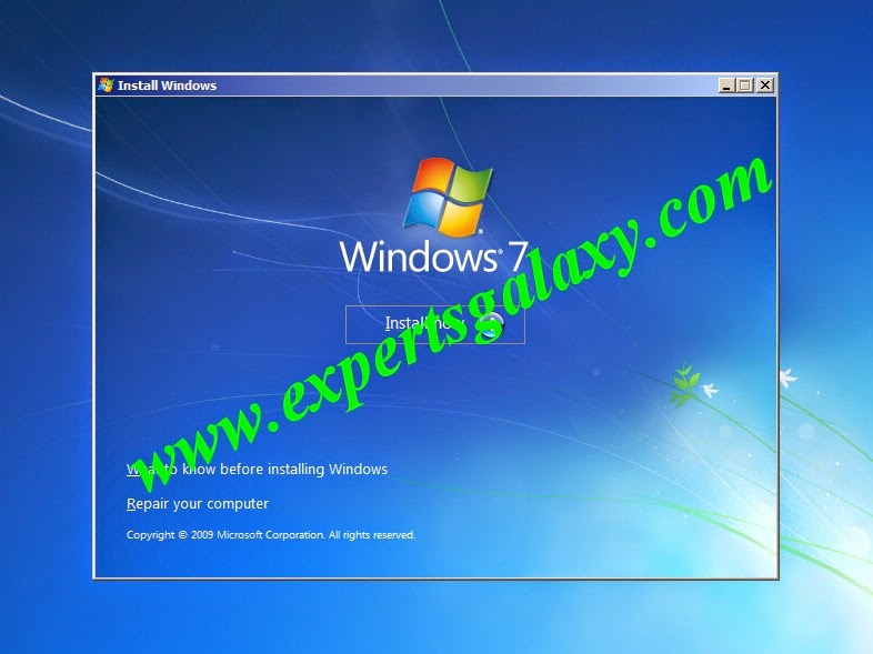 Windows 7 Install Now Screen