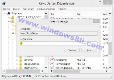 windows 8 menü açılış hızı