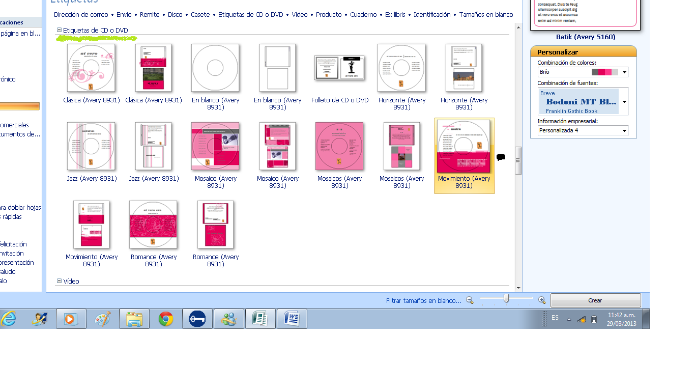 Dorian Maribel Blanco Blanco: Práctica 5, Etiquetas de CD ♥\'