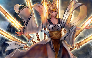 Beautiful Gold Hair Girl Gold Swords Anime HD Wallpaper Desktop PC Background 1635